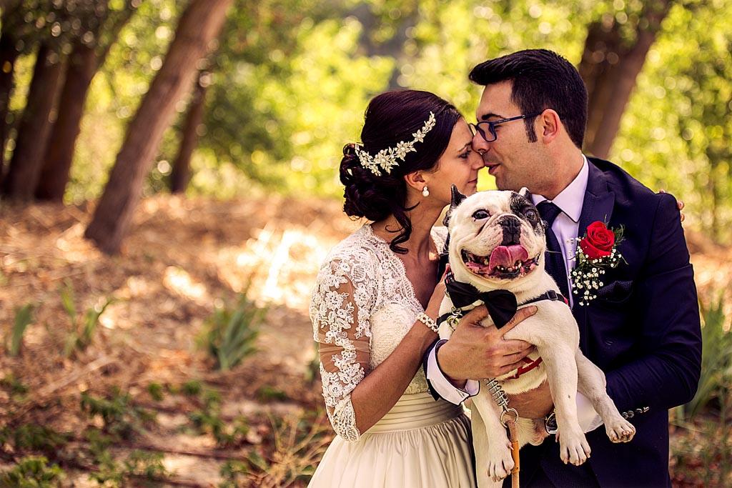 fotochitabodas - fotografia de boda Valladolid - novia con perro - novio con perro